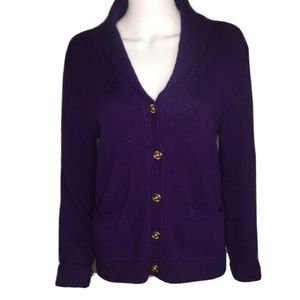 Lauren Ralph Lauren XL Cardigan Sweater Plum Gold